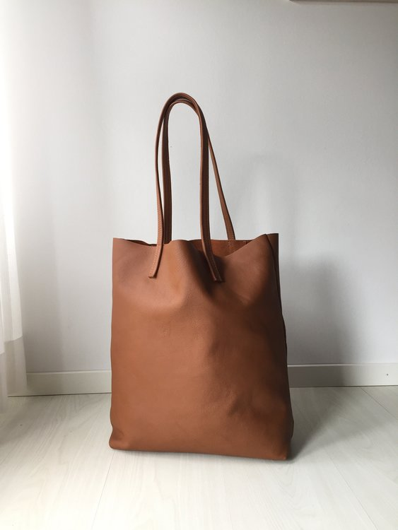 Raw Leather Tote Bag