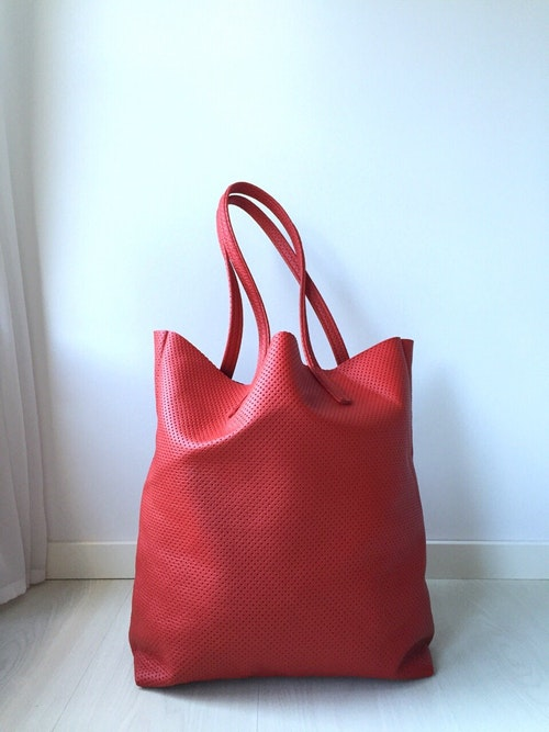 Raw Leather Tote Bag - Red Perforated