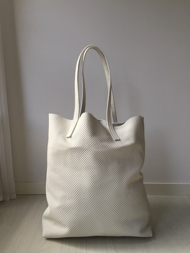 Raw Leather Tote Bag - White perforated