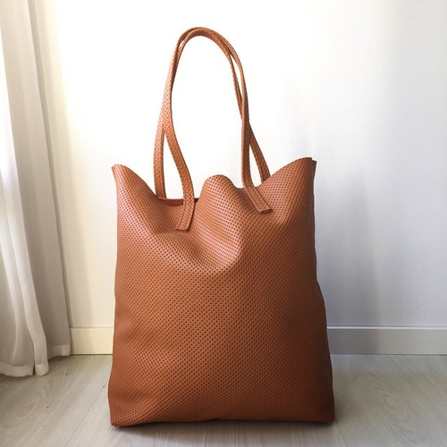 Raw Leather Tote Bag - Perforated Cognac
