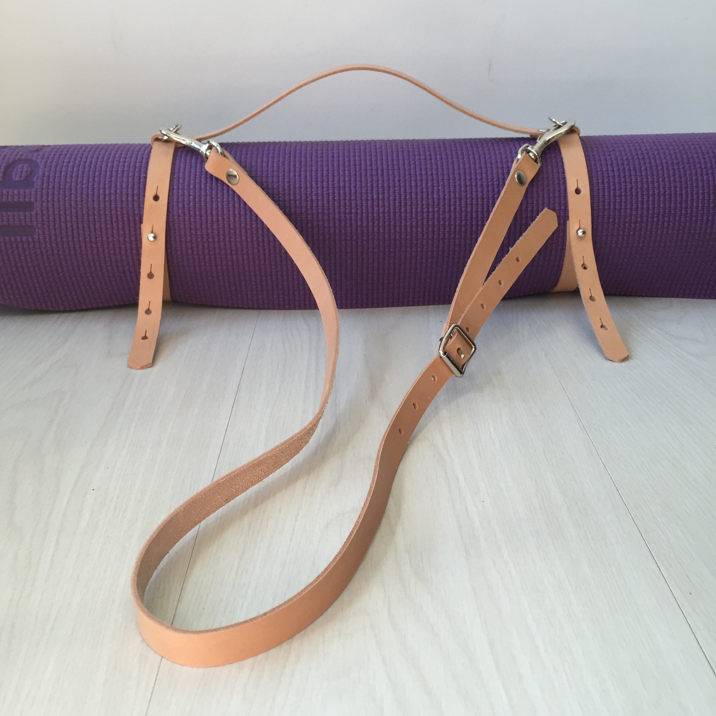 Yoga Mat Strap - Nude Leather