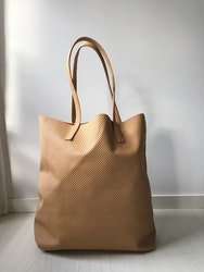 Raw Leather Tote Bag - Tan Perforated Leather