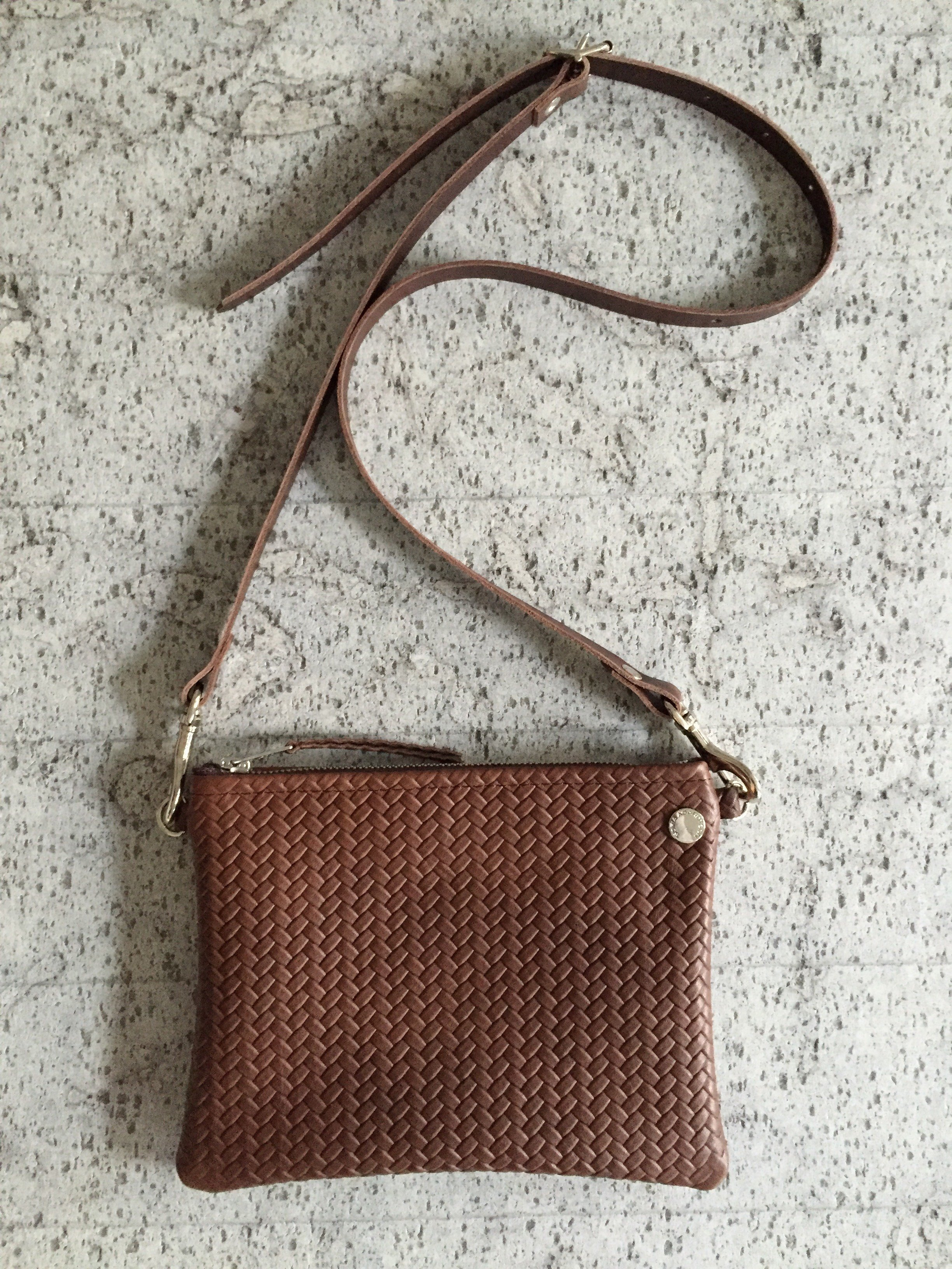 VIP Shoulder Bag - Chocolate Brown Herringbone Leather