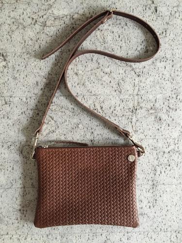 VIP Shoulder Bag - Chocolate Brown Herringbone Leather