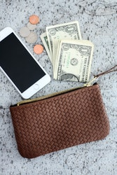 VIP iPhone Wallet - Herringbone Chocolate Brown Leather
