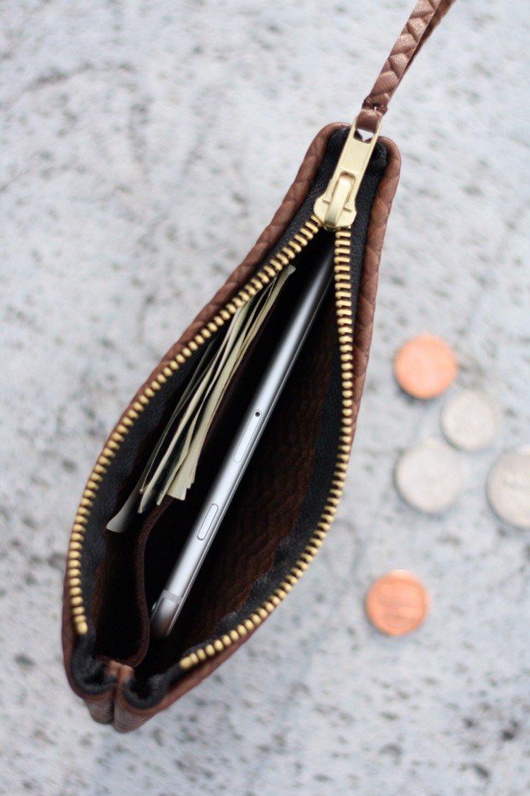 VIP iPhone Wallet - Herringbone Chocolate Brown Leather
