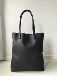 Raw Leather Tote Bag - Black Leather