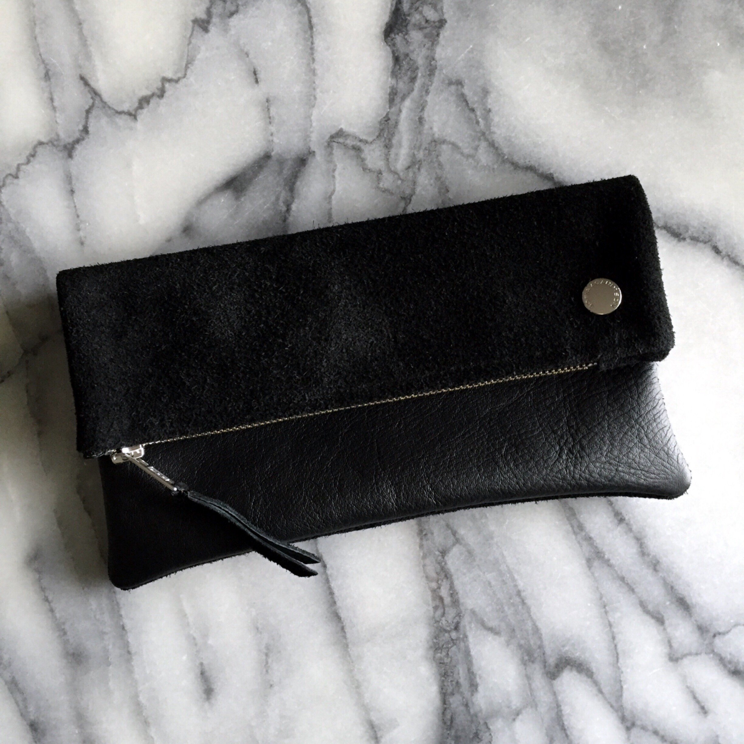 VIP Fold Over Bag - Black Suede & Leather