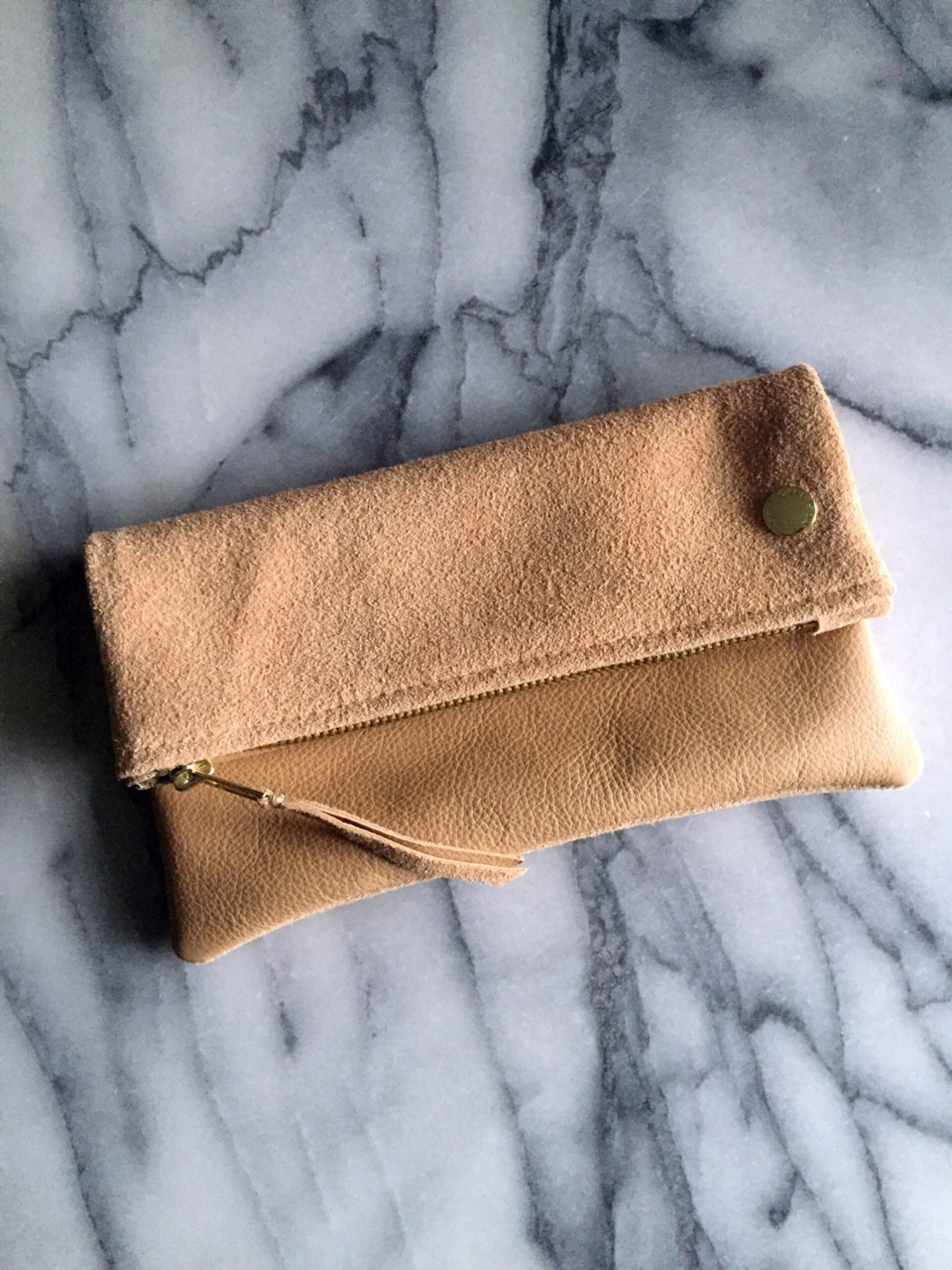 VIP Fold Over Bag - Nude Suede & Leather