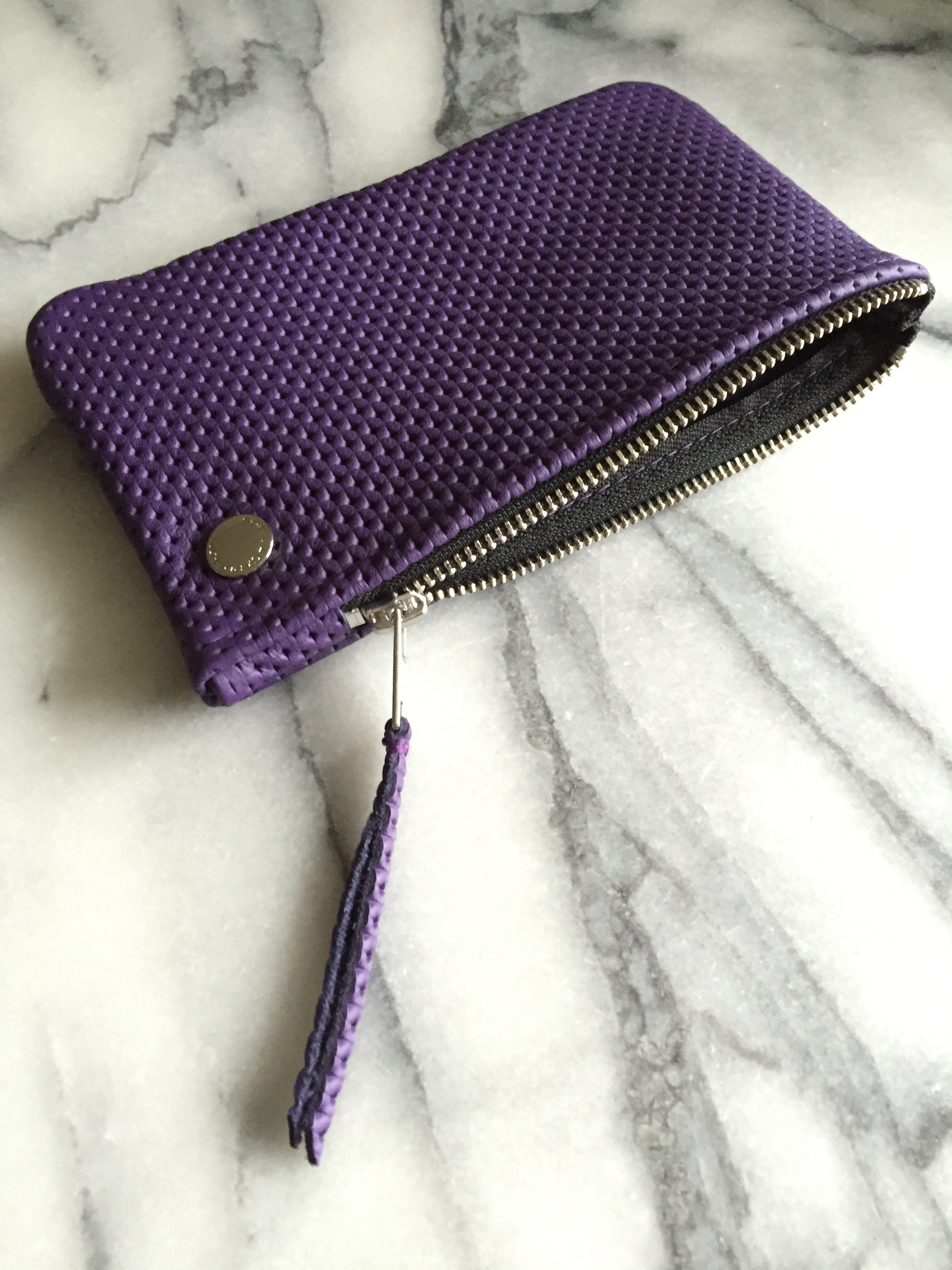 VIP iPhone Wallet - Purple Perforated Leather