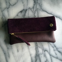 VIP Fold Over Bag - Plum Suede & Leather