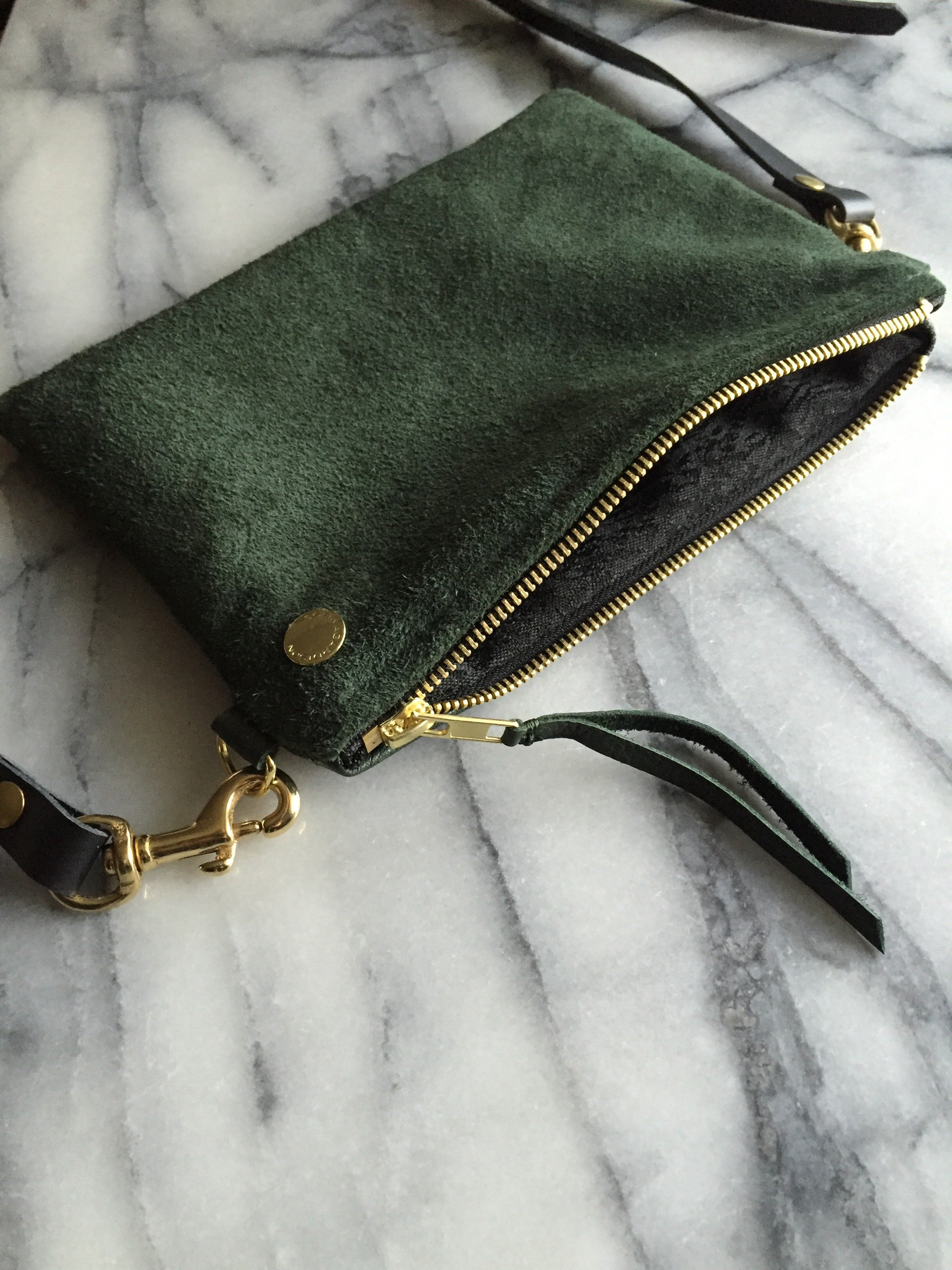 VIP Shoulder Bag - Green Suede & Leather