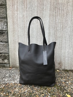 Raw Leather Tote Bag - Dark Chocolate Brown