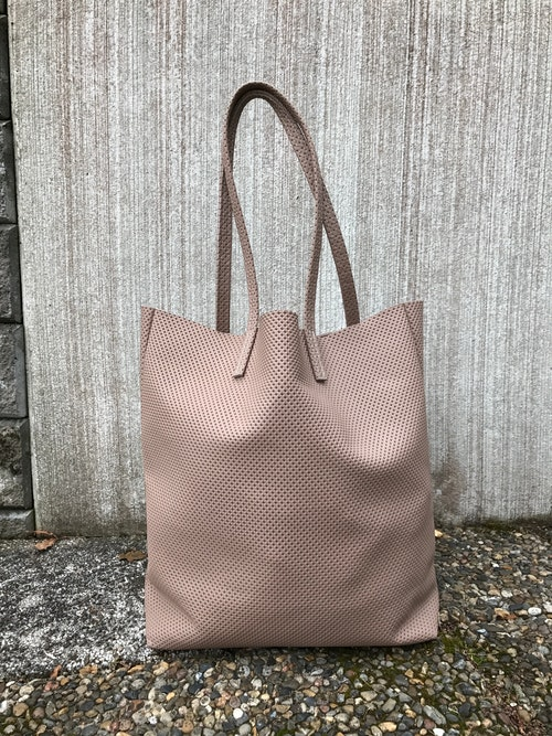 Raw Leather Tote Bag - Light Taupe Perforated