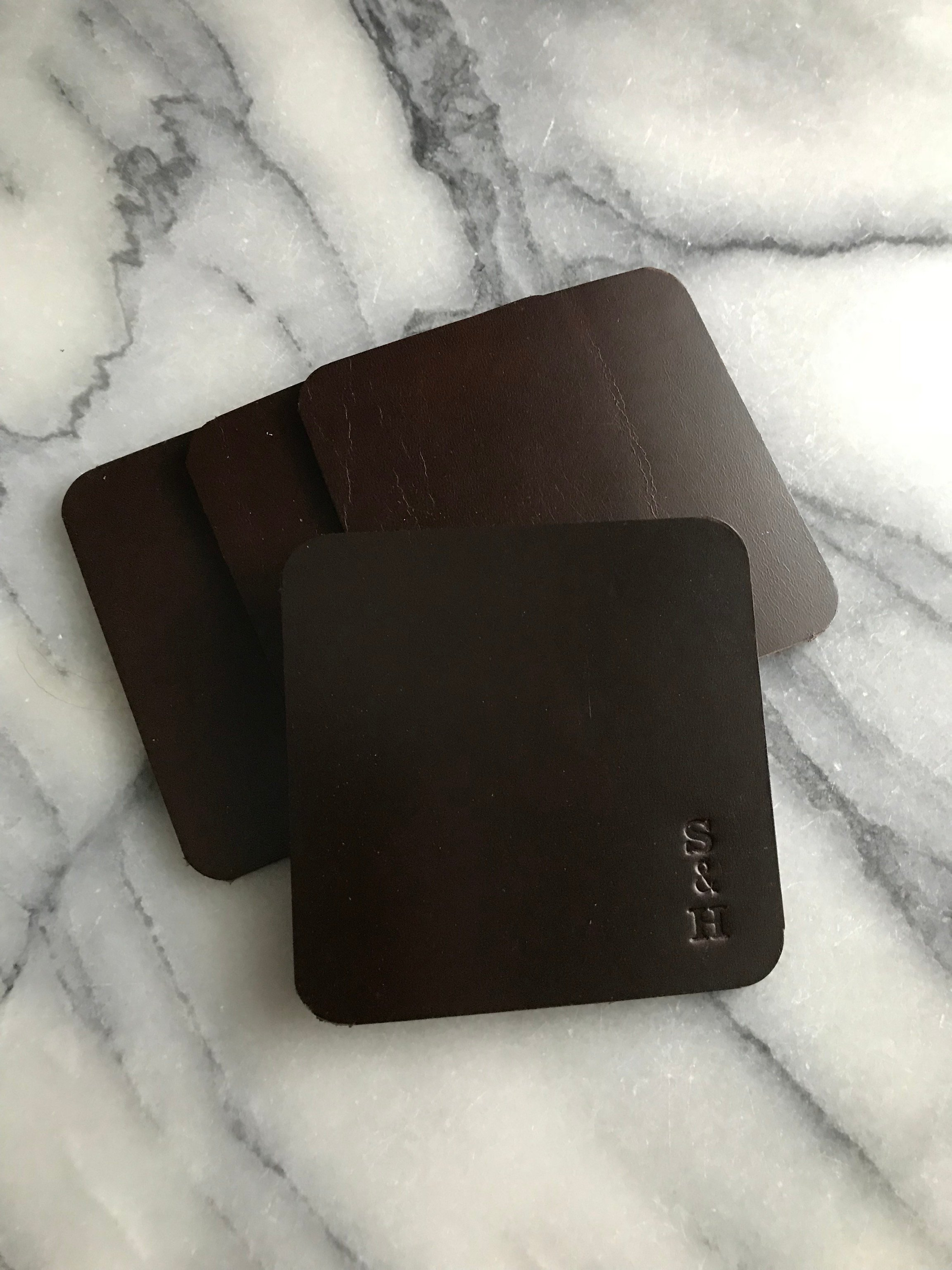 Leather Coasters Brown - Glasunderlägg i läder