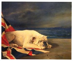 ENGELSK BULLDOG MED UNION JACK av LILIAN CHEVIOT Bulldogg OLJETRYCK