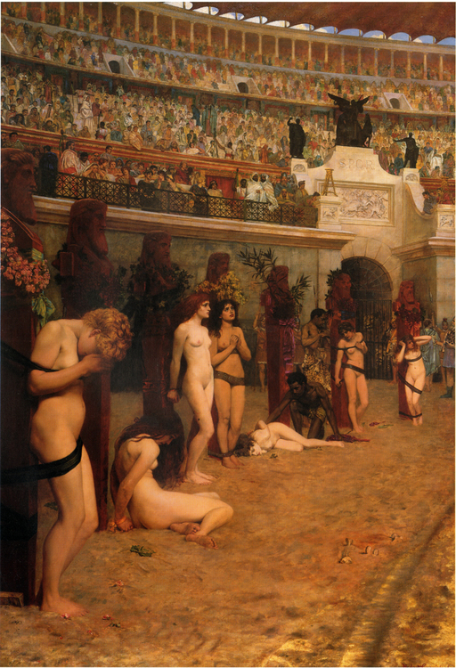 KRISTNA MARTYRER OFFRAS TILL LEJONEN av Herbert Gustave Schmalz