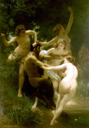NYMFER OCH SATYR av WILLIAM ADOLPHE BOUGUEREAU