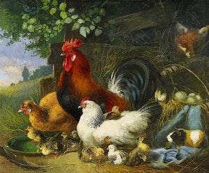 HÖNSGÅRDEN av JULIUS SCHEURER Konsttryck på duk