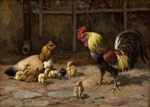 UTMANAREN av WILLIAM BAPTISTE BLAIR Kyckling OLJETRYCK