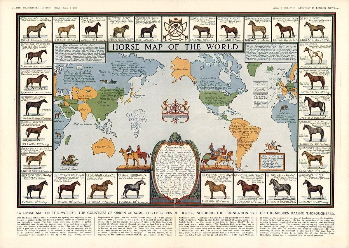 HORSE MAP OF THE WORLD 1936 Hästkarta