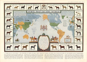 HORSE MAP OF THE WORLD 1936 Hästkarta