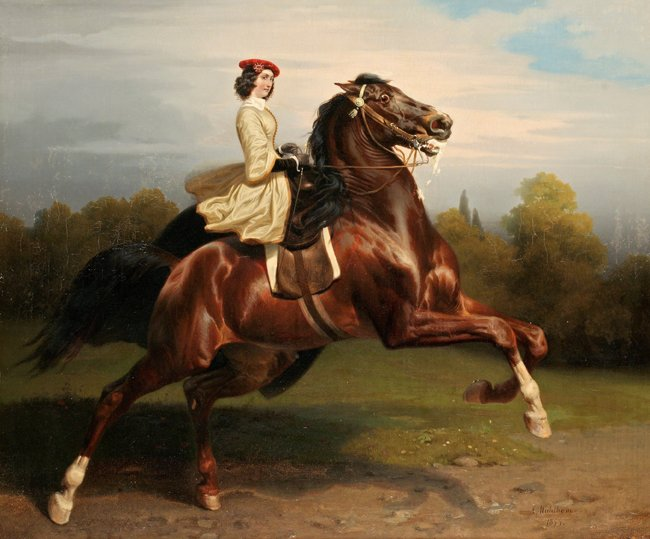 RYTTARINNA 1855 av CARL WAHLBOM Konsttryck på duk
