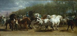HÄSTMARKNADEN 1853 av ROSA BONHEUR Konsttryck på duk