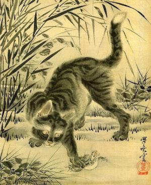 KATT OCH GRODA av KAWANABE GYOSAI Tryckt på linne canvas