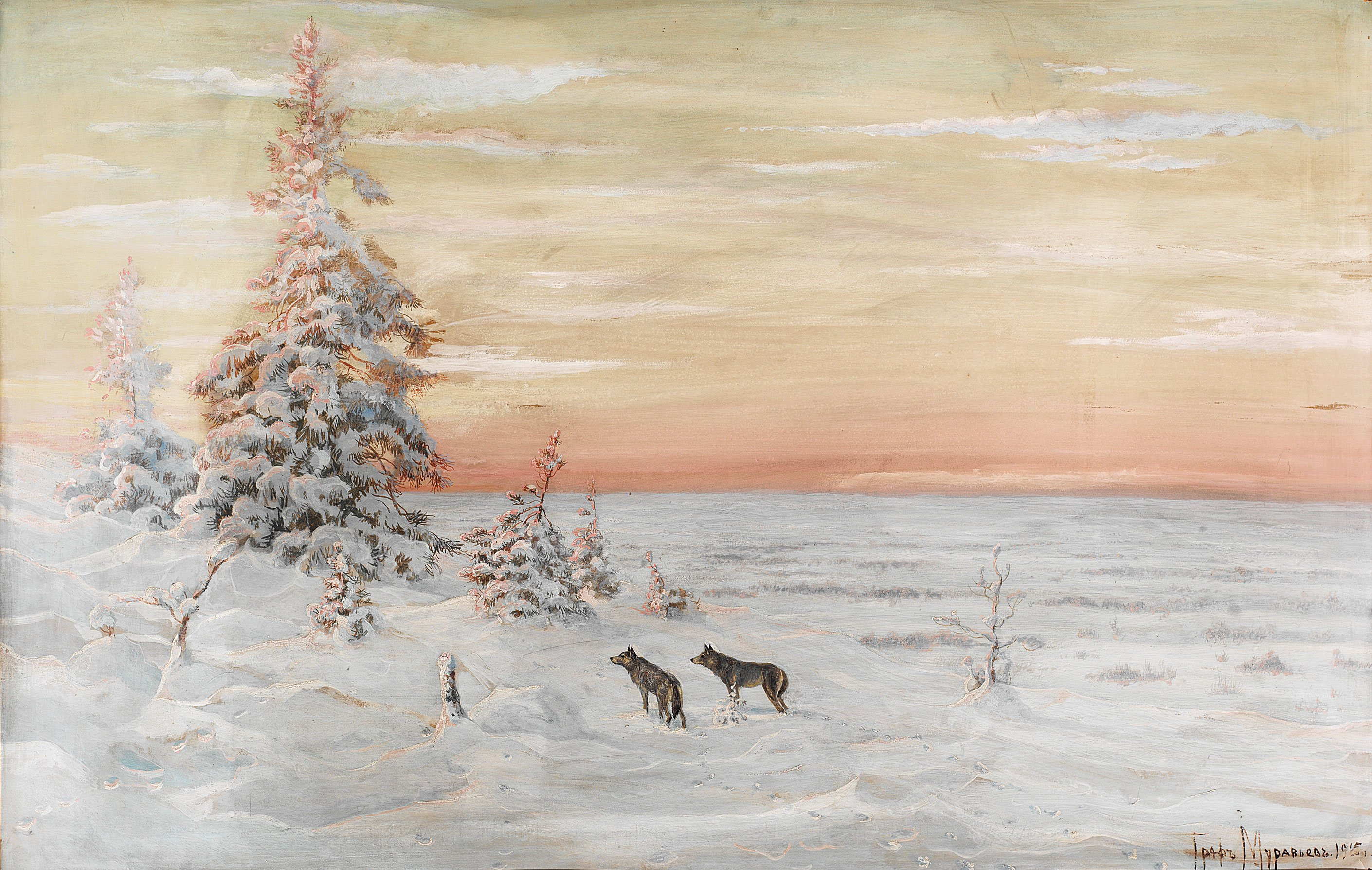 VARGAR I VINTERLANDSKAP av GREVE VLADIMIR MURAVIOV Konsttryck på duk