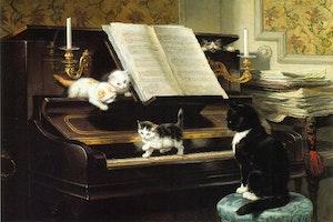 KATTERNAS PIANO LEKTION av HENRIETTE RONNER-KNIP Konsttryck på duk