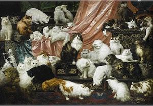MIN FRUS MÅNGA ÄLSKARE - VÄRLDENS HÄFTIGASTE KATT MÅLNING av CARL KAHLER 42 katter! Konsttryck på duk