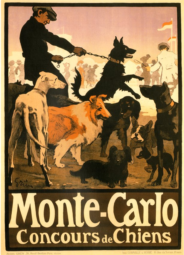 MONTE CARLO HUNDUTSTÄLLNING av Jules Alexandre Grün