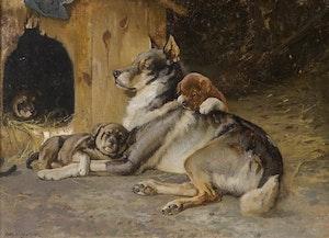 ÄLGHUND MED VALPAR 1894 av KARL UCHERMANN