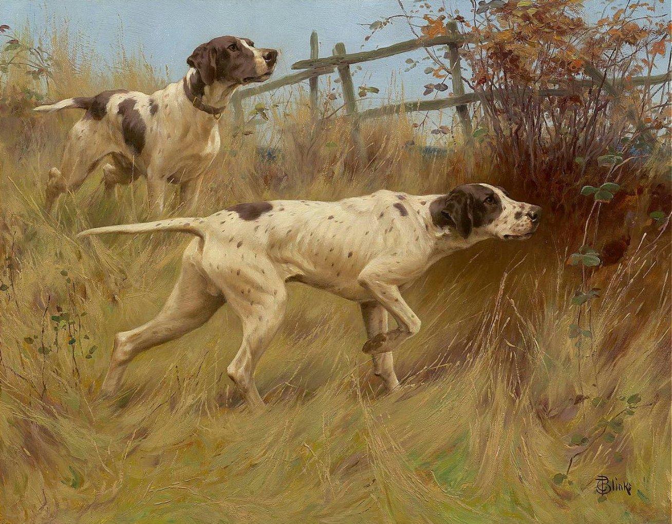 A GOOD POINT Två Pointer jakt hundar av THOMAS BLINKS Konsttryck på duk