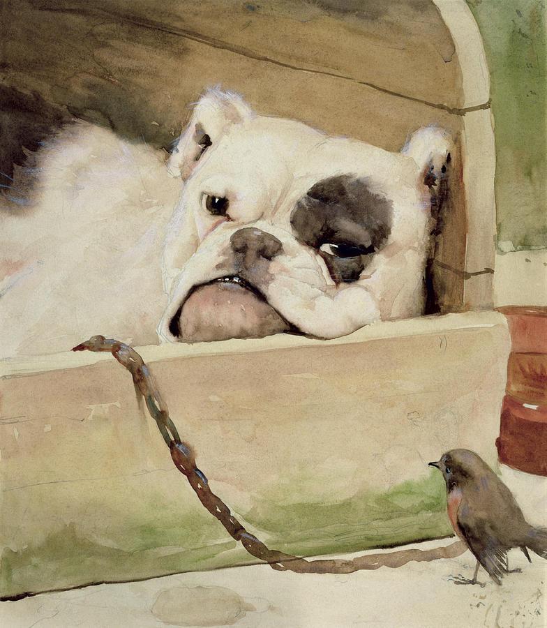 ENGLISH BULLDOG AND TWEETY BIRD av CECIL ALDIN  Bulldogg Rödhake OLJETRYCK