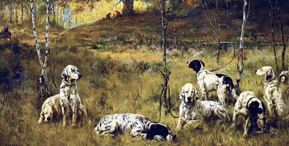 THE LUNCH HOUR av PERCIVAL ROSSEAU 8 Setter hundar KONSTTRYCK PÅ DUK