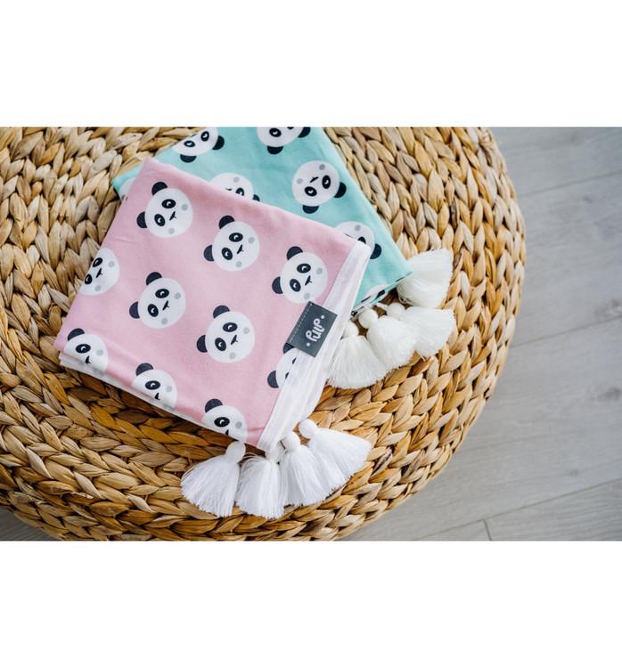 Pulp Eco Jersey Bomulls filt, Rosa Pandas - Elliotti.se