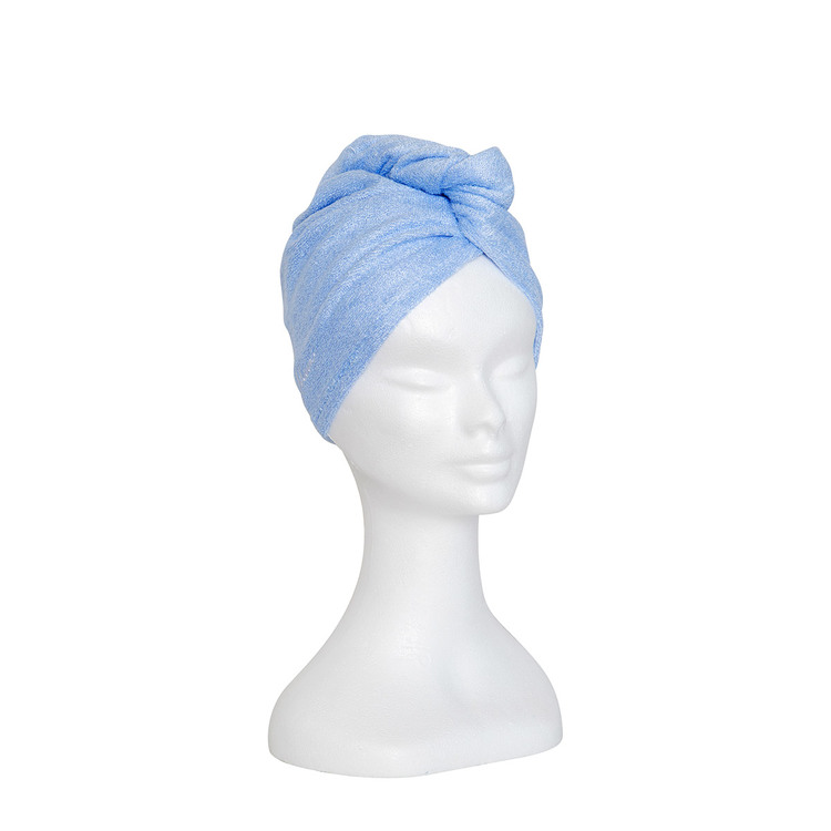 Bambu turban handduk, ljus blå