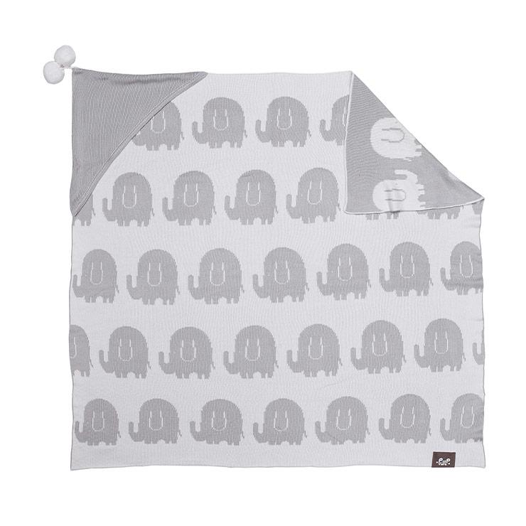 Pulp Bambu Baby Filt med huva, grå elefanter - Elliotti
