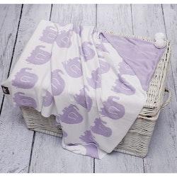 Pulp Bambu Baby Filt med huva, lila elefanter
