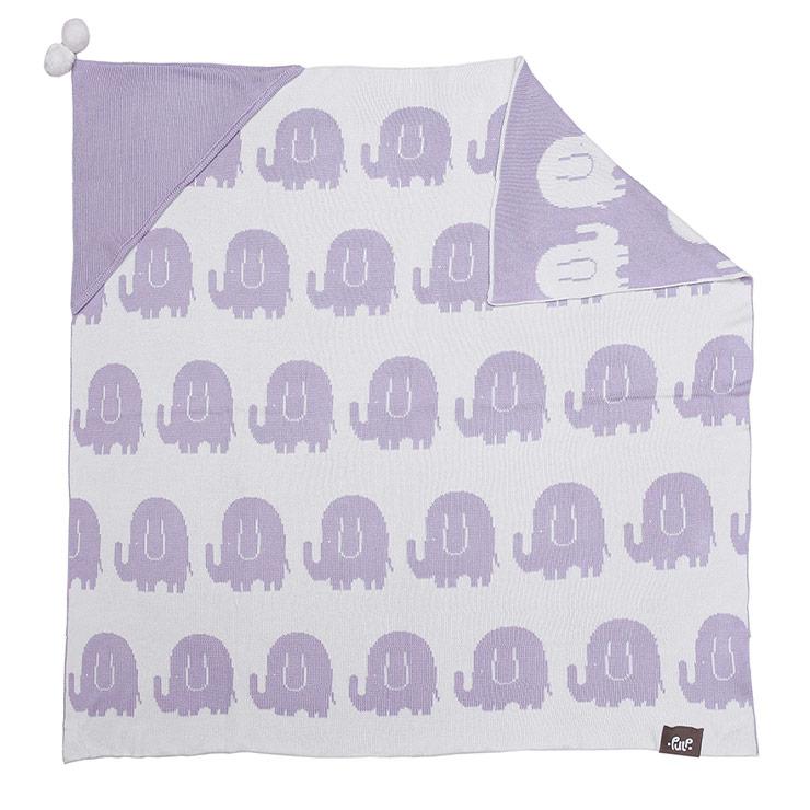 Pulp Bambu Baby Filt med huva, lila elefanter - Elliotti