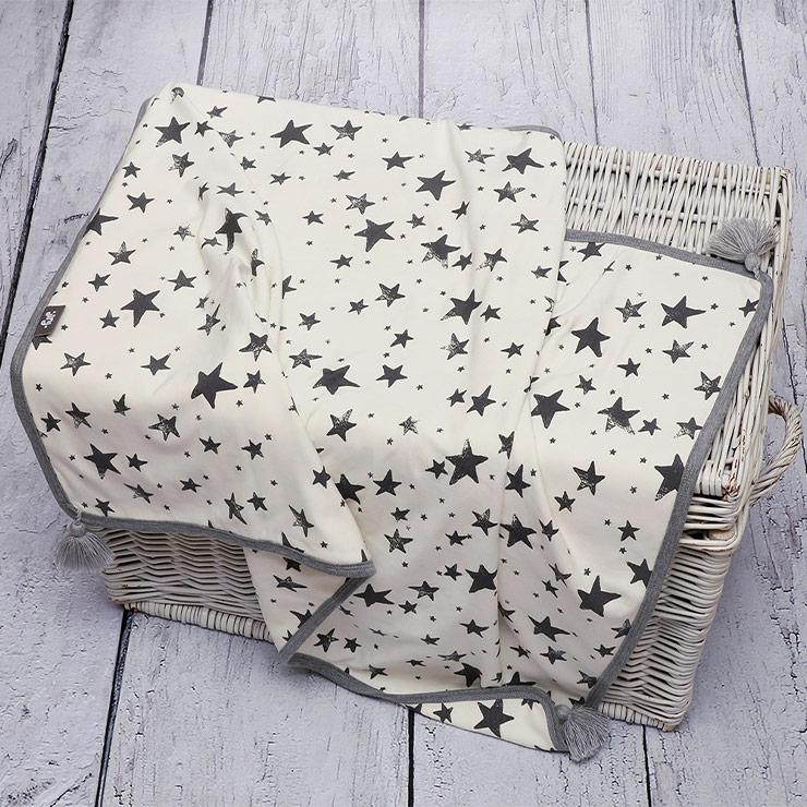 Pulp Bambu tvåsidig filt, Grey Stars - Elliotti