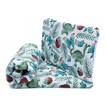 Pulp Eko Bomull bebistäcke och kudde 72cm x 52 cm, Green Dino