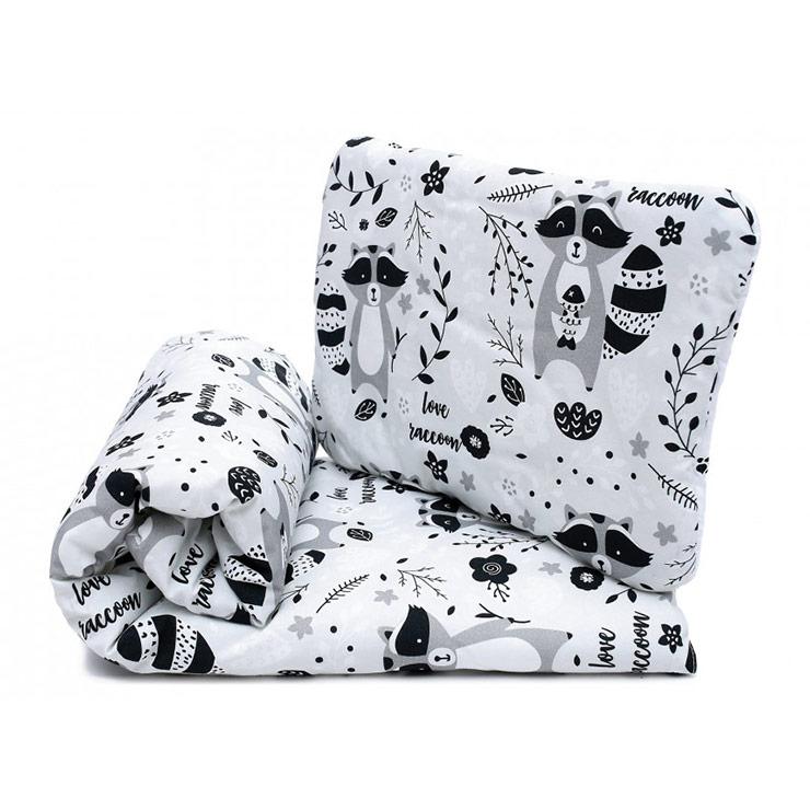 Pulp Bomull Baby täcke och kudde, Racoon