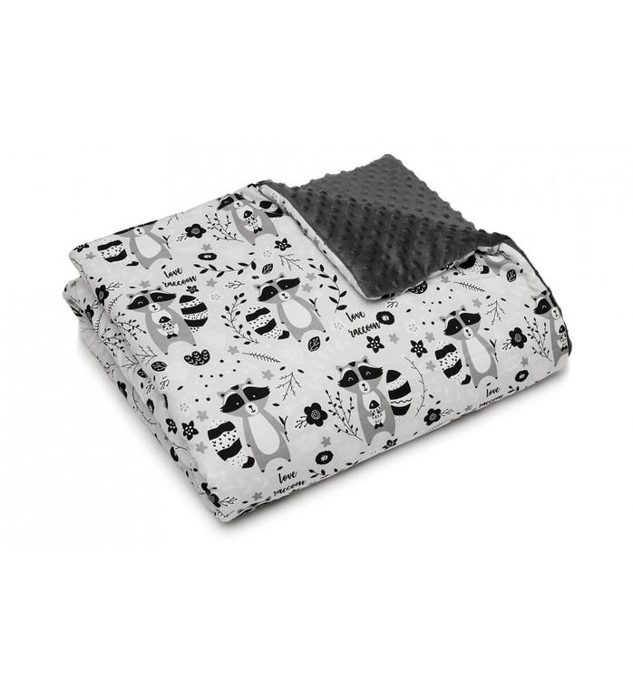 Pulp Minky fleece filt, Raccoons - Elliotti
