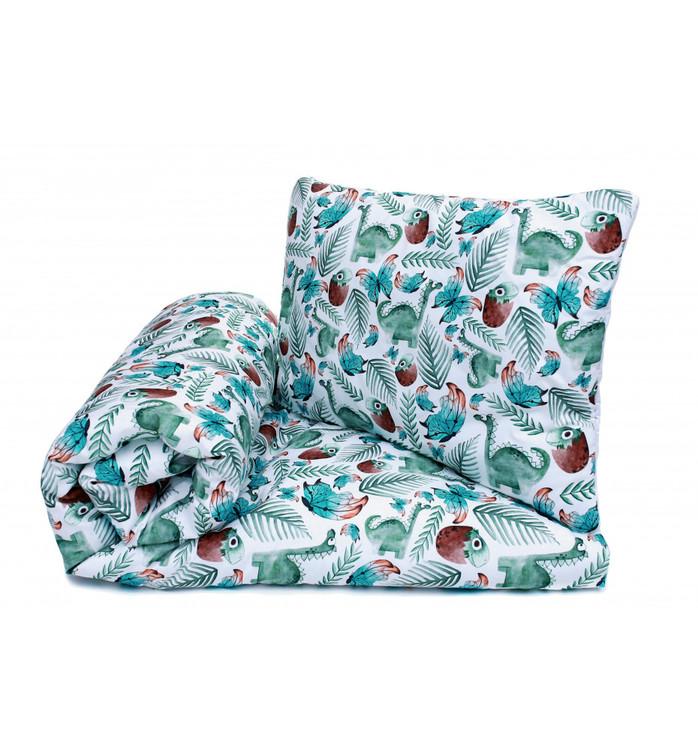 Pulp Baby täcke och kudde i bomull, Green dinosaurs - Elliotti.se