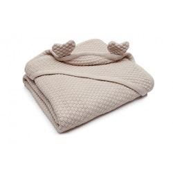 Pulp Eco Bomull Baby filt med huva, beige