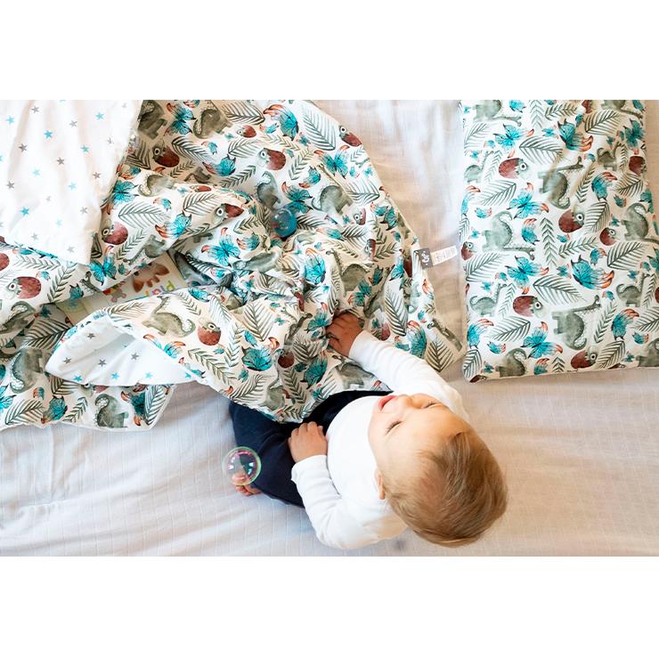 Pulp Bomull Baby täcke och kudde, Green Dino - Elliotti.se