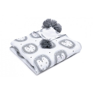 Pulp Eco Bomull Swaddle filt, Hedgehogs